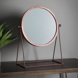 Bronze Round Mirror On A Stand - mirrors