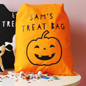 Personalised Pumpkin Halloween 'Trick Or Treat' Bag - trick or treat bags
