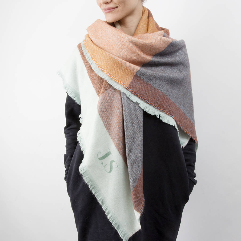 personalised colour block oversized scarf shawl by studio ...