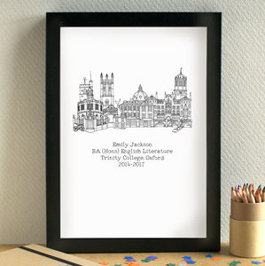 Personalised Graduation Skyline Art Print - architecture & buildings