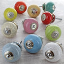 Crackle Ceramic Door Knobs Cupboard Pull Handles