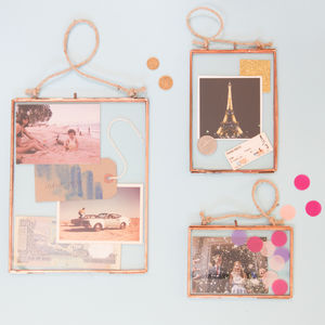 Copper Glass Hanging Frame - engagement gifts