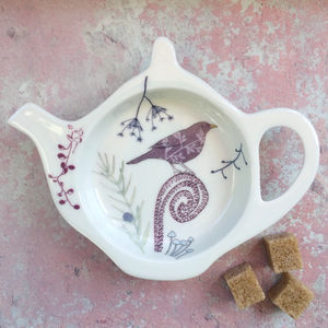 Bone China Teabag Tidy Blackbird Design - dining room