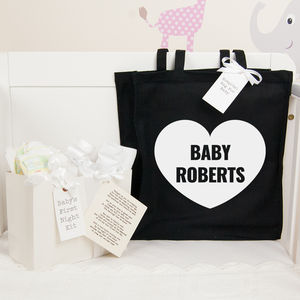 Personalised Baby Shower Gift Heart Hospital Bag