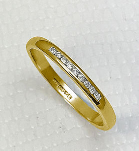 Super Slim 2mm Yellow Gold Channel Set Diamond Ring