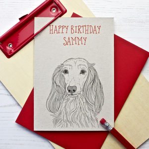 Long Haired Dachshund Dog Birthday Card