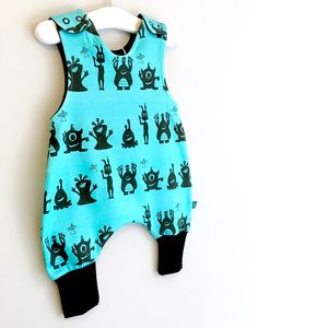 Aliens Organic Baby Romper, Monsters Dungarees, Was £24 - clothing