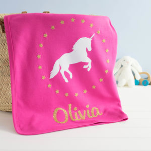 Personalised Sparkly Unicorn Baby Blanket - baby & child sale