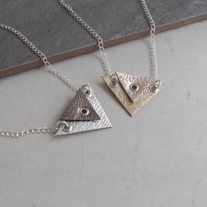 Zonite Geometric Leather Double Triangle Necklace - necklaces & pendants