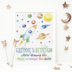 Space Stars Boys Bedroom Print - wall hangings for children