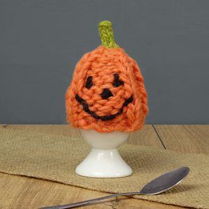 Pumpkin Hand Knit Egg Cosy And Egg Cup - kitchen