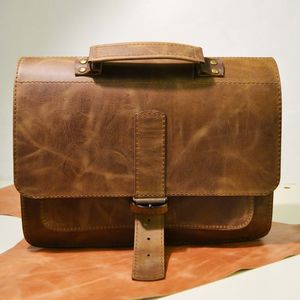 Wiped Brown Leather Satchel