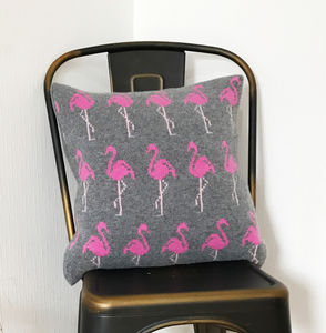 Knitted Lambswool Flamingo Cushion - living room