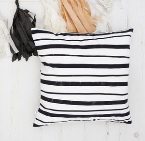 Striped Black And White Cushion
