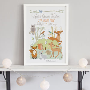Woodland Animals Birth Print