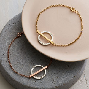 Personalised Circle Bar Bracelet - gifts for her
