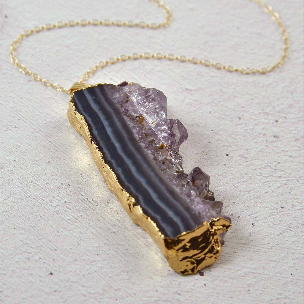 druzy amethyst cluster crystal raw necklace rough pendant