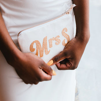 Patti Personalised Mrs Bridal Clutch Bag