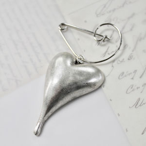 Abstract Heart Silver Plated Swirl Pin Brooch