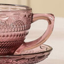 Set Of Four Embossed Amethyst Tea Cups And Saucers