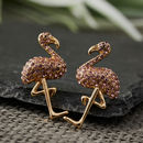 Gold And Pink Gem Flamingo Earrings