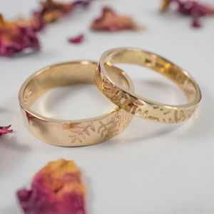 Botanical Wedding Bands In 9ct Yellow Gold - new in wedding styling