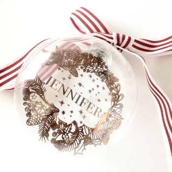 Name In Wreath Gold Foiled Christmas Bauble