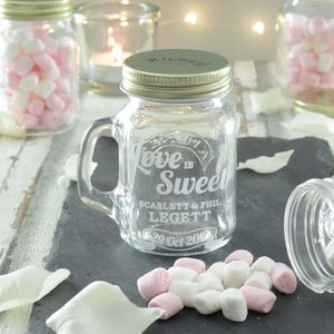 20 Love Is Sweet Personalised Wedding Favour Jars
