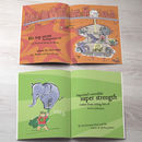 interior pages of personalised superdad kids book with elephant and funny text