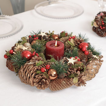 Stars And Baubles Christmas Candle Table Centrepiece