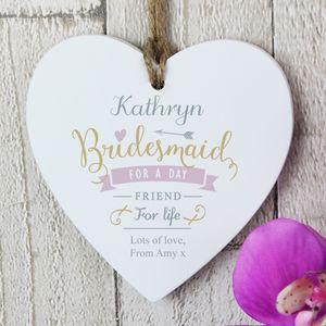 Bridesmaid Thank You Personalised Wooden Heart