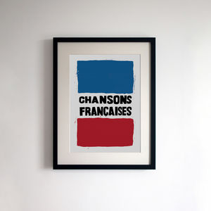 French Style Protest Poster Print 'Chansons Francaises'