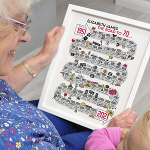70th Birthday Personalised Print 'The Road To 70'