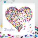 Daughter Pink Butterfly Heart Card, Daughter Card