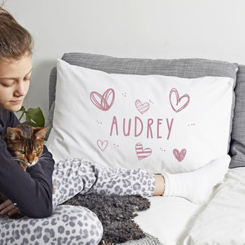 Personalised 'Hearts' Pillow Case