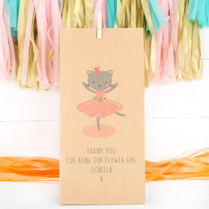 Personalised Ballerina Kitten Flower Girls Gift Bag