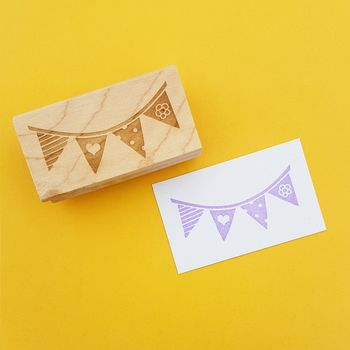 Summer Party Bunting Rubber Stamp