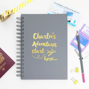 Personalised Travel Adventures Notebook - writing