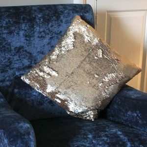 Aviva Stanoff Rose Gold And Silver Sequin Cushion