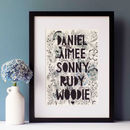 Personalised Family Monochrome Florals Papercut Print