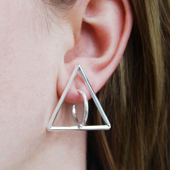 Triangle Solid Sterling Silver Round Stud Hoop Earrings