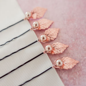 Set Of Five Rose Gold Leaf Pins