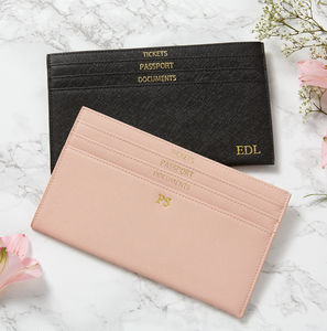 Personalised Leather Slim Travel Wallet - gifts for her
