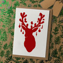 Pack Of Eight Reindeer Silhouette Christmas Cards