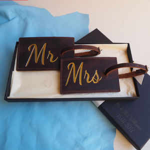 Mr And Mrs Leather Luggage Tags - honeymoon accessories
