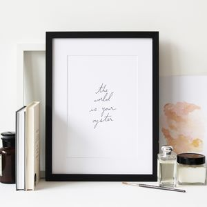 The World Is Your Oyster Artprint - 21st birthday gifts
