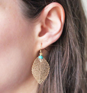 Filigree Leaf Earrings - earrings