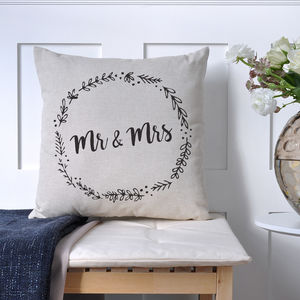 Mr And Mrs Olive Wreath Cushion - personalised cushions