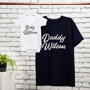 Personalised Father And Child T Shirt And Babygrow Set - baby & child