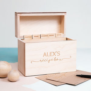 Personalised Wooden Recipe Box - gifts for friends